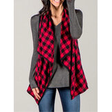 Women Plaid Sleeveless Cloak Cardigans Casual Coats