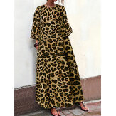 Women Leopard Print Casual Loose Dress with Pockets