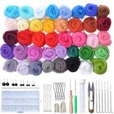 40 Renk Soft Yün Keçe Mat Başlayanlar DIY Örme Zanaat Keçe İğne Parçalar Set Dikiş Aletler
