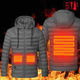 Waterproof Electric USB Heatiing Warm Hooded Jacket Winter Heated Coats