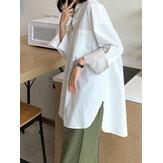 प्लस आकार महिलाओं की लंबी आस्तीन बटन ठोस रंग आरामदायक शर्ट