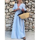 V-Neck Holiday Beach Sundress A-Line Pleated Maxi Dress