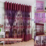 DYQ 250*100cm Living Room Curtain Floral Tulle Door Window Curtain Drape Panel Sheer Scarf Valances Glass Yarn Curtains