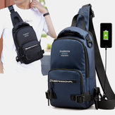 Men Waterproof Light Weight Chest Bag With USB Charging Port