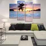 Miico Hand Painted Four Combination Decorative Paintings Seaside Coconut Tree Wall Art For Home Decoration
