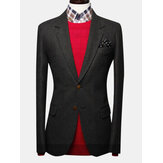 Fashionable Mens Solid Color Contracted Two Buckle Tweed Suit