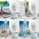 4pcs rideau de douche maison imperméable à l'eau de bain tapis de bain ensemble tapis couvercle de toilette couvercle!