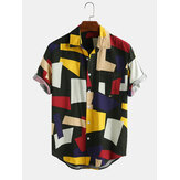 Mens Color Block Cotton Praktische Tasche Kurzarm Casual Shirts