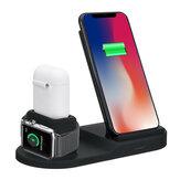 Bộ sạc không dây 3 trong 1 10W Qi Bộ sạc tai nghe Bộ sạc điện thoại cho điện thoại thông minh hỗ trợ Qi cho iPhone 11 Pro Max Apple Watch Apple AirPods