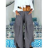 المرأة أرجل واسعة الخصر مطاطا نقية اللون سروال جيوب