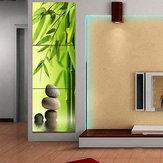 Miico Handgeschilderde decoratieve schilderijen met drie combinaties Groene bamboe-muurkunst voor huisdecoratie