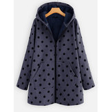 Original              Women Fleece Polka Dots Corduroy Hooded Coats
