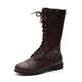 Womens Motorcycle Warm Lace Up Winter Casual Mid Calf Boots