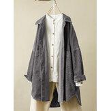 Corduroy Long Sleeve Irregular Hem Vintage Coats