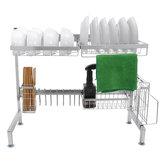 Prateleira para pratos de armazenamento de cozinha, escorredor de pratos, bandeja de aço inoxidável e organizador de suporte para pia