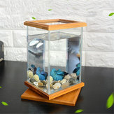 Mini Aquarium LED Iluminação de vidro transparente Fish Tank Container Office Desktop Decor!