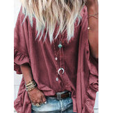 Women Loose Solid Flare Sleeve Button Down Shirts