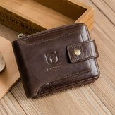Bullcaptain RFID Antymagnetyczny portfel z prawdziwej skóry w stylu vintage 11 miejsc na karty Torba na monety Portfel na zamek błyskawiczny dla mężczyzn
