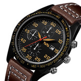 VA VA VOOM VA-204 3ATM Waterproof Leather Strap Quartz Watch