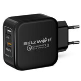 BlitzWolf® BW-S6 30W Dual USB QC3.0 Wall USB Charger EU Adapter for iphone 8 8 Plus iphone X Xiaomi