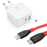 BlitzWolf® BW-S11 30W Type-C PD/QC3.0+2.4A Dual USB Charger EU Adapter + BlitzWolf® BW-CL1 PD 3.0 Type-C to Lightning Cable