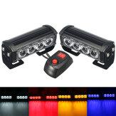 2PCS 12V LEDストロボFlashライトフロントグリル警告ランプ7で防水Flashingトラックトラックトレーラー用モードスイッチ