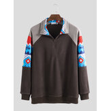 Mens Casual Half Zipper Printing Long Sleeve Jacket