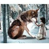 30*40CM DIY 5D Diamond Wolf Girl Embroidery Paintings Tool Paste Stitch Home