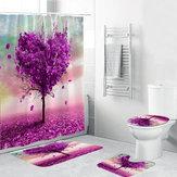 ロマンチックなハートツリー防水浴室紫シャワーカーテントイレカバーマット滑り止めの敷物