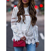 Long Sleeve Summer Hollow Out Lace Patch Blouse