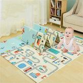 2 x 1.8m infantil dobrável cartoon bebê jogar mat bebê tapete crianças rastejando