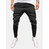 Erkek Moda Çizgili Hafif Günlük Pantolon