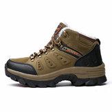 High-top Thicken Winter Warm Cotten Men Shoes Anti-ski Anti-puncture Plus Velvet Outdoor Hiking Shoes