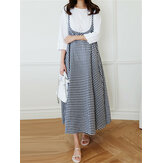 Women Vintage Print Plaid Sling Loose Casual Dress