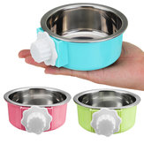 5 cm Stainless Steel Hang-on Bowl Untuk Pet Dog Cat Peti Kandang Makanan Luar Makanan Mangkuk Air