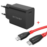BlitzWolf® BW-S12 27W QC4+ QC4.0 QC3.0 PD Type-C Port EU Charger + BW-CL1 PD 3.0 Type-C to Lightning 3A Data Cable With MFi Certified 3ft/0.91m
