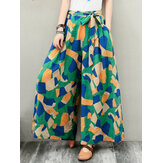 Wide-Legged Women Geometric Print Elastic Waist Pants