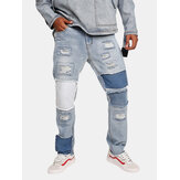 Stylish Patchwork Ripped Hip-Hop Designer Jeans
