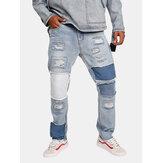 Retalhos elegantes rasgado Hip-Hop Designer Jeans