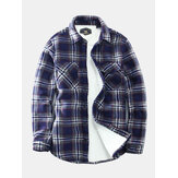 Mens Vintage Plaid Fleece Warm Thickened Long Sleeve Jacket