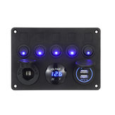 12 / 24V 5 Gang Azul LED Rocker Switch Panel Dual USB Car Boat Marine RV Truck ON-OFF