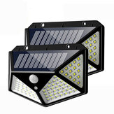 2 piezas 100 LED Solar Powered PIR Motion Sensor Aplique al aire libre Jardín Lámpara 3 modos