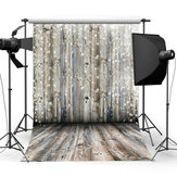 3x5FT 5x7FT 6x8FT Grey Wooden Wall Floor Snowfall Photography Backdrop Background Studio Prop - 0.9x1.5m