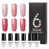 ROSALIND 6Pcs Chiodo Gel Set Pure Colors UV Chiodo Gel Smalto per unghie Top Coat Soak Off Chiodo Manicure semi permanente