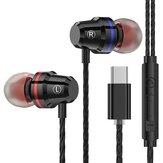 PTM M4 Type-C Filaire Écouteurs intra-auriculaires Métal Écouteurs Ligne Contrôle Avec Micro pour Xiaomi Huawei