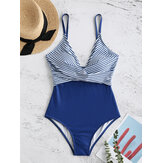 Plunge V Neck Stripe Printed Cross Criss High Waist One-pieces Swimmwear