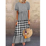 Women Short Sleeve O-neck Plaid Stitching Maxi Dress