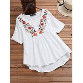 Vintage blouse met onregelmatige zoom en bloemenprint met borduursel