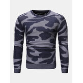 Mens Camouflage Pattern Crew Neck Long Sleeve Casual Sweater