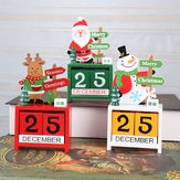 Loskii Christmas Advent Countdown Calendar Wooden Santa Claus Snowman Reindeer Pattern With Painted Blocks Holiday Home Decorations